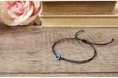 Evil Eye Black String Bracelet. Blue Evil Eye Kabbalah Chakra Bracelet