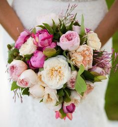 English (garden) rose and peony bouquet.