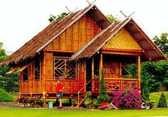 Bamboo house design with natural nuances. Staying in a bamboo house will bring you to the atmosphere of living in nature. House Window Design, Bamboo House Design, Small House Design, Bahay Kubo Design Philippines, Rio Grande, Filipino House, Bungalow Haus Design, Hut House, Tiny House