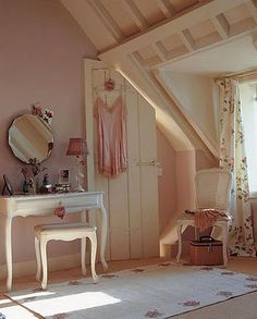 cute pink and white shabby chic bedroom Dream Bedroom, Home Bedroom, Bedroom Decor, Bedroom Ideas, Muebles Shabby Chic, Deco Cool, Attic Rooms, Attic Bathroom, Bathroom Small