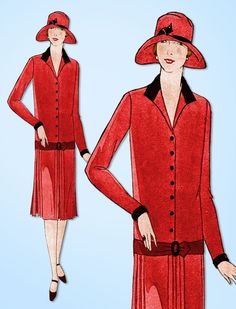 Ladies Home Journal Sewing Pattern 4916 Misses' Flapper Dress Pattern With Partially Pleated Skirt Found in the Summer 1926 Catalog Auction Does Not Come with Catalog Pages Those are Digital Scans for