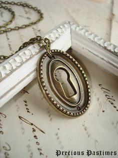 SECRETS - Keyhole Necklace. Antiqued Brass Hardware Escutcheon with Beautifully Beaded Detail. Industrial Chic. Steampunk Jewelry.