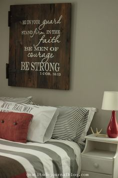 Gray and red bedroom...love this boy room idea!