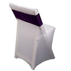 These Purple Fabric Chair Bands are an easy way to dress up your chairs! This 6 1/2 inch high by 13 1/4 inch wide reusable fabric band stretches to fit around chairs for an easy decorating tool.
