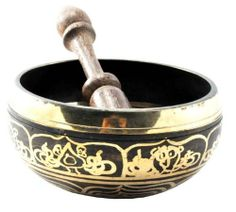 Black and Gold Handmade Tibetan Singing Bowl, Rin Gong, Himalayan Bowl, 4 Inches, Free Wood Mallet by Hinky Imports. $29.99. Tibetan Buddhists use singing bowls as a signal to begin and end periods of silent meditation. Some practitioners use the singing bowl chanting, striking it when a particular phrase is chanted. Many Tibetan rinpoches and monks use singing bowls in monasteries and meditation centers today.  Singing bowls are played by striking the rim of the bowl with a mal...