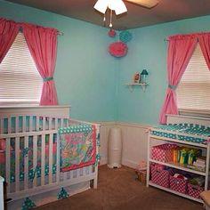 Pink and aqua nursery My Baby Sam pixie in aqua