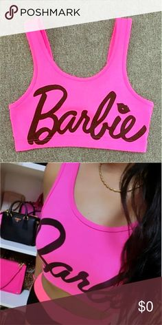 Classic 'Barbie' Cropped Tank COMING SOON TO COLOR ME CRAZY BOUTIQUE!!!  Get ready for summer with this adorable 'Barbie' cropped tank with classic Barbie lettering!! A must have for any Barbie lover!! Reserve yours today!! Simply comment SIZE below to reserve!! Other colors available soon!! Barbie Tops Crop Tops