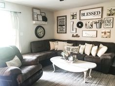 Farmhouse Style Throw Pillows - Simply Junkin, Farmhouse Style living room with dark furniture. Farmhouse Gallery Wall. Farmhouse Living room with a brown couch