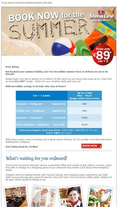 Summer holidays email marketing campaign.