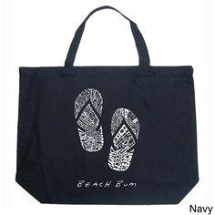 """Created using the words """"Beach Bum"""" Tote Purse, Tote Handbags, Purses And Handbags, Black Handbags, Flip Flop Shop, Flip Flops, Beach Bum, Blue Beach, Beach Tote Bags"""