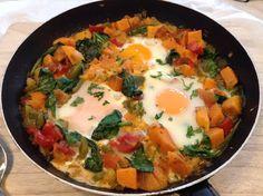 Panelinha de Sabores: Ovos escalfados em cama de batata doce Quando os f... Healthy Recipes, Healthy Food, Cooking, Breakfast, Ethnic Recipes, Fitness, Diabetes, Vegan, Blog