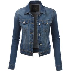 LE3NO Womens Classic Long Sleeve Denim Jean Jacket (€26) ❤ liked on Polyvore featuring outerwear, jackets, tailored jacket, blue denim jacket, blue jean jacket, tailored denim jacket and denim jacket