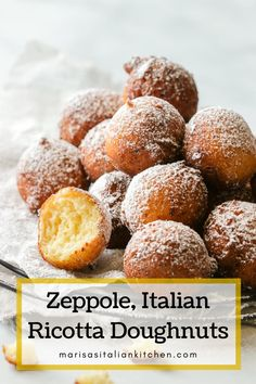 These Zeppole are the most incredibly easy Italian ricotta doughnuts you'll ever make. It's a recipe you'll turn to over and over again for the most light and fluffy fritter to enjoy on your favourite holiday. Easy Zeppole Recipe, Zeppoli Recipe, Ricotta Doughnuts Recipe, Ricotta Cheese Desserts, Ricotta Cake, Donut Recipes, Baking Recipes, Cookie Recipes, Dessert Recipes
