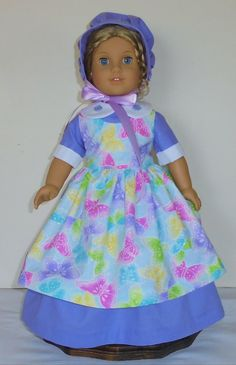 Butterfly print Pinafore Dress designed to fit American Girl dolls Felicity,Elizabeth or Kirsten 3 pc.. No. 708 by MargaretteDesigns4AG on Etsy
