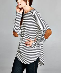 Love this Love, Kuza Navy & White Stripe Elbow Patch Tunic by Love, Kuza on #zulily! #zulilyfinds