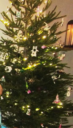 Xmas tree decorations made of white, pink and lime LEGOs