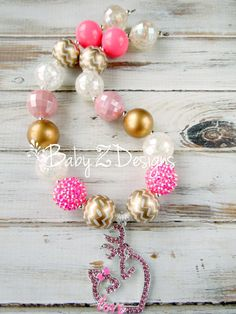 Deer Love Chunky Necklace in Hot Pink Gold and by babyzdesigns