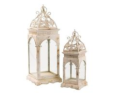 Set di 2 lanterne in metallo e vetro Sissy - max 26x76x26 cm