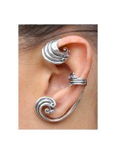 Ear Wrap Wave Ear Wrap Wave Ear Cuff Wave Jewelry by martymagic Wire Ear Cuffs, Wave Jewelry, Body Jewelry, Silver Earrings, Stud Earrings, Cartilage Earrings, Silver Necklaces, Tourmaline Jewelry, Simple Bracelets
