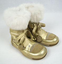 BLUMARINE Girls Boots Size 9.5 26 Mid Calf Leather Gold Faux Fur Shoes #Blumarine #Boots