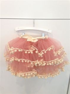 Pink Pom Pom Tulle Skirt Perfect for First Birthdays