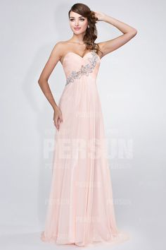 Ruching Bodice One shoulder Chic Pink Long Evening Dress