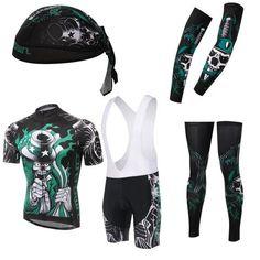 Men's Black Skeleton Short Sleeve Cycling Jersey Full Set #Cycling #CyclingGear #CyclingJersey #CyclingJerseySet