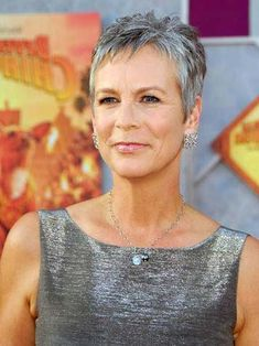 """Gray Hairstyle : Short Pixie Cut - Jamie Lee Curtis #celebrity #beauty"""