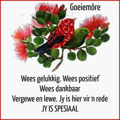 Good Morning Wishes, Good Morning Quotes, Lekker Dag, Goeie Nag, Goeie More, Afrikaans Quotes, Personality Types, Mornings, Prayers