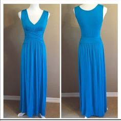 """Three Dots Turquoise V-neck Maxi Dress, S Super comfortable and versatile v-neck stretch knit maxi dress by THREE DOTS in gorgeous blue. Size small. Good pre-owned condition. Length is 55.5"""" from shoulder to hem. I removed tag from inside of back as it itched me.✨Bundle 2 or more items to save 10% plus combined shipping!✨ Three Dots Dresses Maxi"""