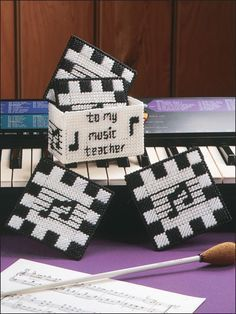 plastic canvas music coasters