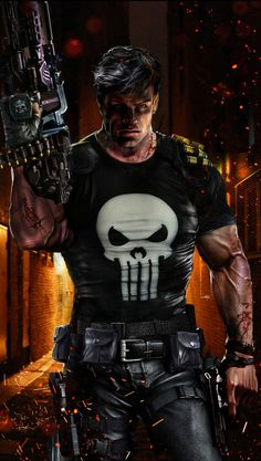 """Frank """"the Punisher"""" Castle is on both my Marvel Comics Villains and Marvel Comics Heroes boards. He's a hero because he really does try to kill only bad guys. Punisher Marvel, Marvel Dc Comics, Marvel Fanart, Hq Marvel, Marvel Heroes, Daredevil, Captain Marvel, Dc Comics Art, Marvel Comic Character"""