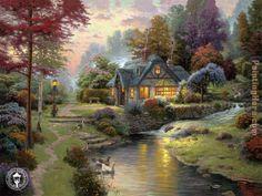 Thomas Kinkade Cottage Paintings   Thomas Kinkade - Thomas Kinkade Stillwater Cottage Painting