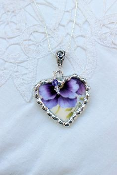 Broken China Jewelry Heart Pendant Necklace.