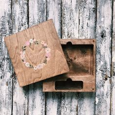 A great alternative to the traditional wedding album; A beautiful wooden box for USB and photos.