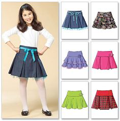 Sewing Pattern GIRLS SKIRT - 6 Very Easy Skirts in 3 Sizes