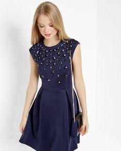 Floral embellished skater dress - Dark Blue | Dresses | Ted Baker