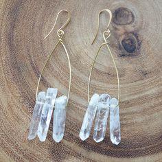 Boho Crystal Drop Earrings by Girlinthefogdesigns on Etsy