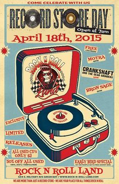RECORD STORE DAY - APRIL 18th, 2015  COME CELEBRATE WITH US.......   OPEN 7AM -   1st 30 People get a FREE Goodie Bag  ************************************************************  HUGE SALE - (Throughout the entire store)  EXCLUSIVE, LIMITED, RELEASES  50% OFF (All Used Vinyl, T-Shirts, Dvd's & More)  $2 ONLY CD's (All Used CD's)  Spinnin' Vinyl  Live Music  and much, much, more..
