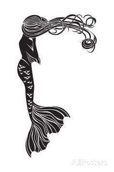 Crying Mermaid Stencil Posters by kristina0702 at AllPosters.com