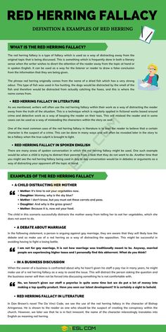 Red Herring Fallacy English Writing, English Literature, English Study, Learning English, English Grammar, English Language, Essay Writing Tips, Writing Resources, Writing Prompts