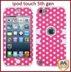 Pink Polka Dots Impact Armor Hard Soft Rubber Hybrid Case iPod Touch 5th Gen | eBay