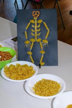 pasta skeletons - great for learning about the bones in the body!  (Dapto Messy Church, June 2013)