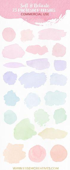 Watercolor brushes for photoshop, feminine watercolor logo, watercolor splash, s. Watercolor Logo, Watercolor Brushes, Watercolor Texture, Logo Background, Watercolor Background, Logos Retro, Photoshop Brushes, Photoshop Ideas, Brush Strokes