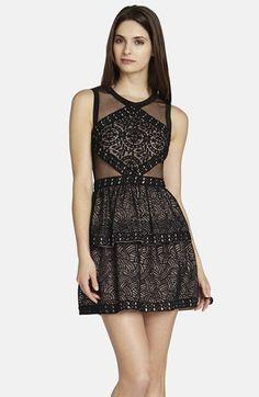 Pin for Later: Übung macht den Meister: Die 20 schönsten Kleider für den Polterabend BCBG Max Azria Sheer Black Kleid BCBGMAXAZRIA Joselyn Mesh Inset Fit & Flare Dress ($368)