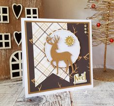 Noel Stag Card - Dovecraft Time to Sparkle Gold Paper, Paper Design, Twinkle Twinkle, I Card, Reindeer, Cardmaking, Christmas Crafts, Sparkle, Paper Crafts