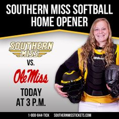 Join us today at 3 p.m. for our first home doubleheader softball game of the season against in state rival Ole Miss!