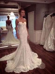 Wishesbridal Sleeveless Spaghetti Straps Court Train Lace Trumpet #Mermaid Backless #WeddingDress Awb0060