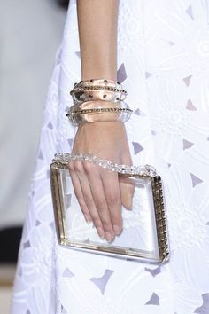 Transparent Studded bangles & Clutch bag #Trend @ Valentino Spring 2013 #PFW #Fashion