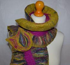 Lime green yellow fuchsia pink felted ruffled merino wool scarf. Handmade.